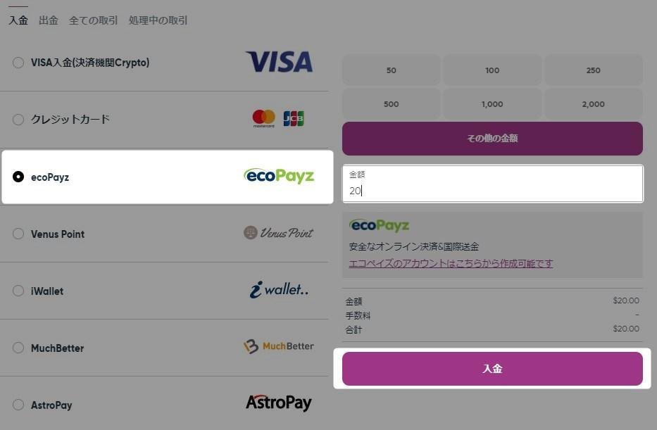 エコペイズ選択後、入金額を入力して「入金」のボタンをクリック