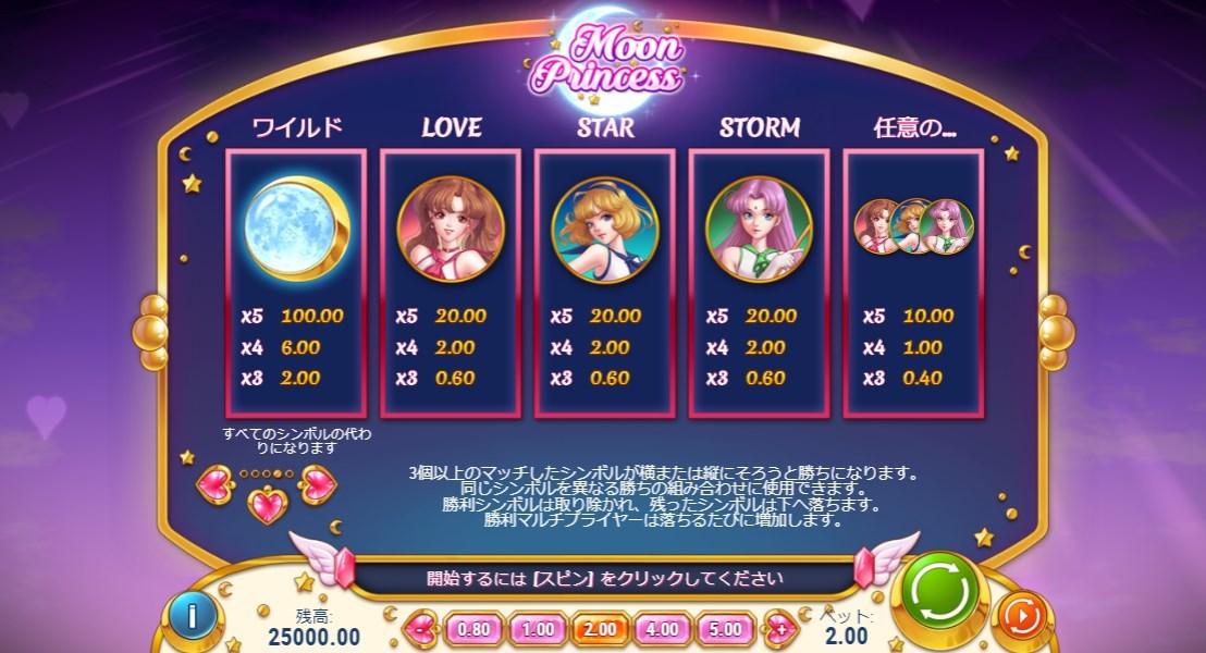 LOVE、STAR、STORM の3種類の高位シンボルとワイルドシンボル