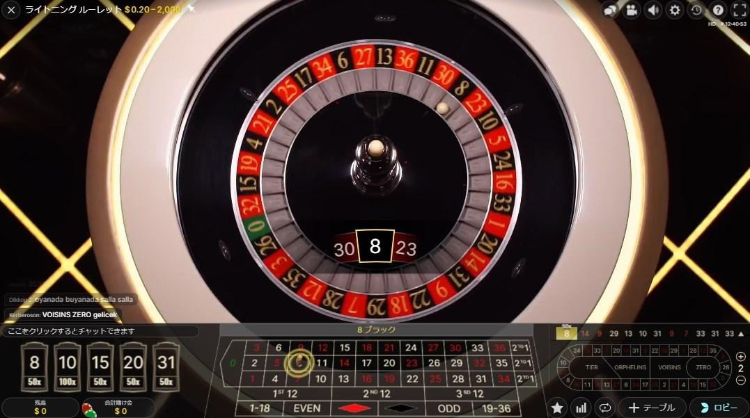 「8」の数字にストレート・アップで賭けていた場合、50倍の配当が手にできます。